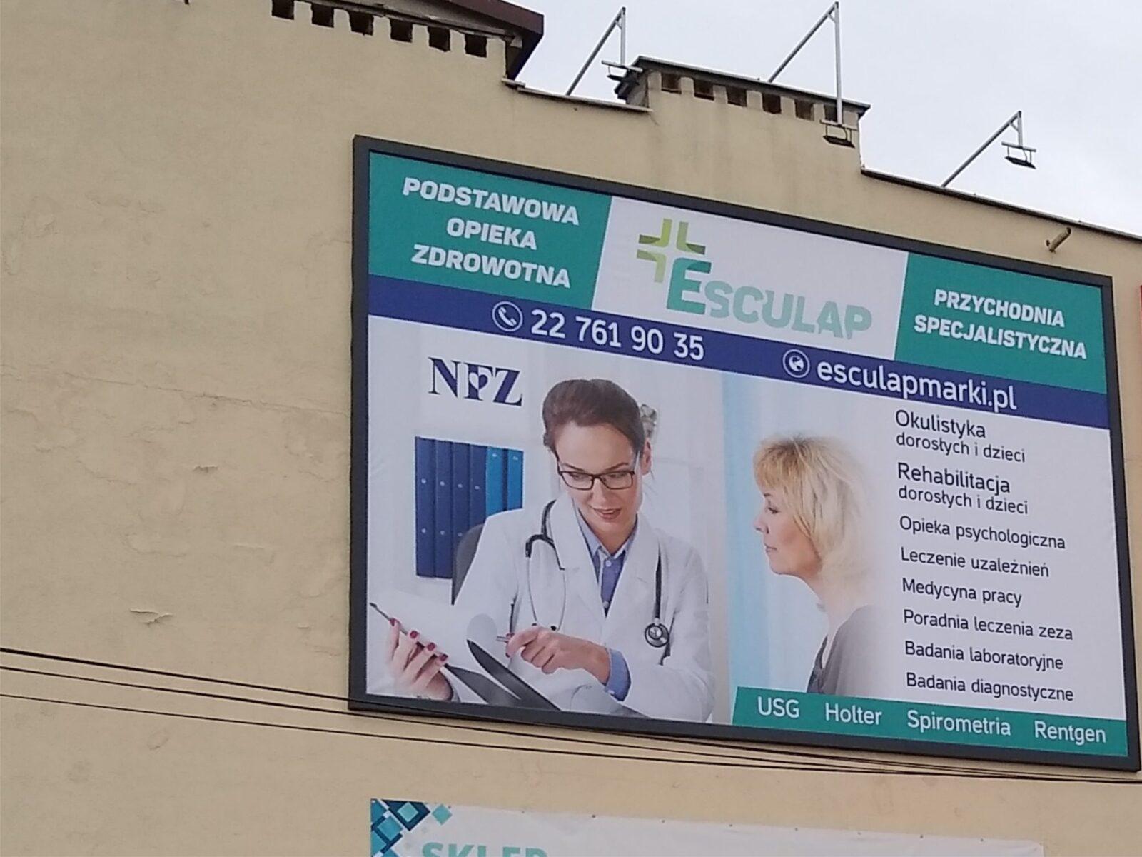 Baner wielkoformatowy jest jednym z elementów nowego wizerunku przychodni lekarskiej